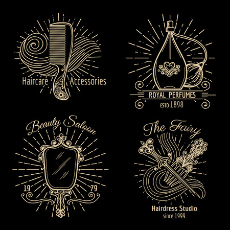 hairdress: Beauty and care logo vector set. Care beauty, logo spa, fashion label, hairdress and haircare logo illustration