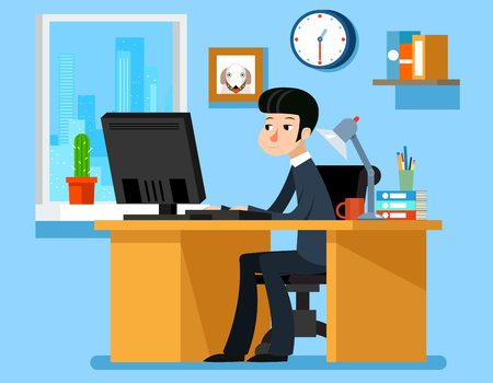 Businessman working in office at the desk with computer. Vector illustration in flat style. Computer businessman, office work, man working Illustration