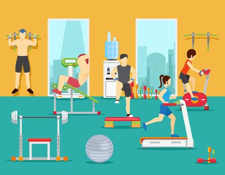 체육관에서 사람들을 훈련. 훈련 체육관, 스포츠 휘트니스 체육관, 체육관에서 남자 운동. 플랫 스타일의 벡터 일러스트 레이션 일러스트