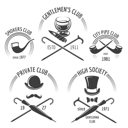 gentleman: Vintage gentlemen club emblem set. Gentleman club emblem, label gentlemen, mustache hipster vector illustration