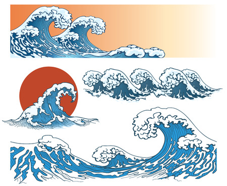 Ondas en el estilo japonés. Las olas del mar, chapoteo de la onda del océano, las olas de tormenta. ilustración vectorial