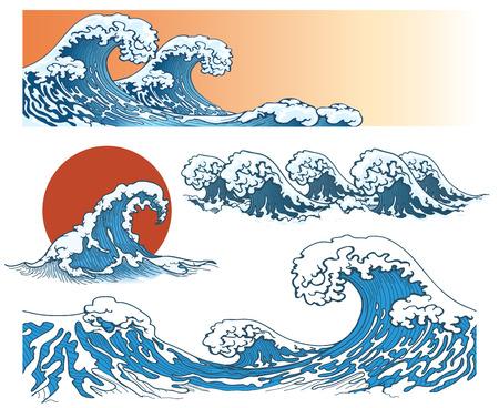 Onde in stile giapponese. Onda del mare, oceano spruzzata dell'onda, onda tempesta. illustrazione di vettore