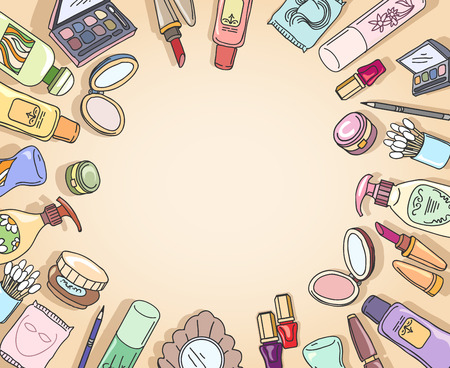 Kosmetik Hand Draufsicht Rahmen Vektor gezeichnet. Rahmen Mode, Make-up Kosmetik, Pinsel Lidschatten Hand gezeichnete Illustration Vektorgrafik