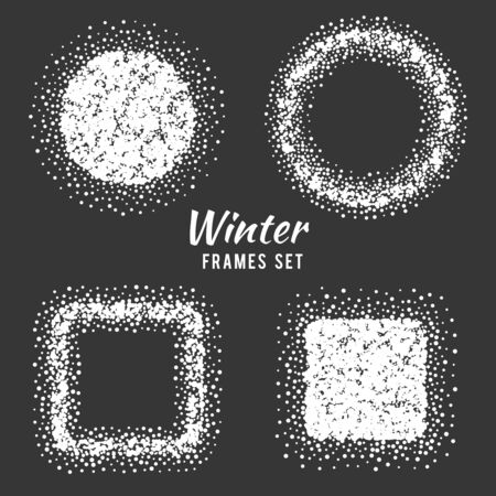 cold season: Snow winter frames vector set. Winter snow frame, season frame, cold snow illustration
