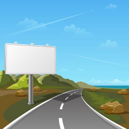 outdoor blank billboard: Road billboard with landscape background. Billboard advertising, advertisement blank, outdoor billboard, poster billboard illustration