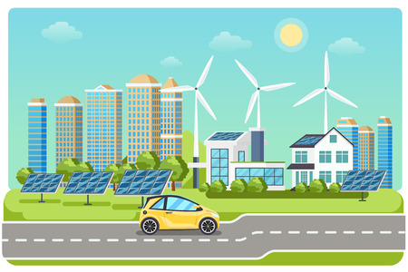 Electromobile on highway. Electric car, electro car,  windmill city, solar electromobile, driving on highway. Vector illustration Çizim