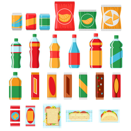 bocadillos de comida rápida y bebidas iconos vectoriales planos. Expendedoras de productos de la máquina, comida, merienda producto de chip, el paquete de ejemplo de la bocado