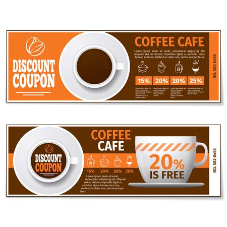 커피 할인 쿠폰 또는 상품권. 레이블 커피 할인, 배너 쿠폰, 상품권 커피 에스프레소, 무료 선물입니다. 벡터 템플릿 일러스트