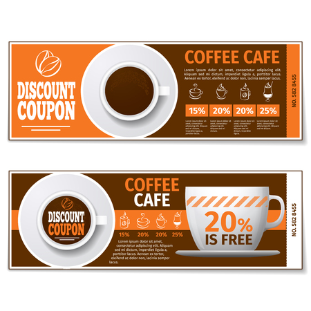 Coffee discount coupon or gift voucher. Label coffee discount, banner coupon, voucher coffee espresso, free gift illustration. Vector template