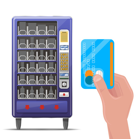 beverage: Vending machine and hand with credit card. Machine vending, automatic machine front, food and beverage vending machine. Vector illustration Illustration