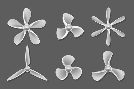 blower: Propeller icons vector. Propeller air, ventilator propeller, fan and blade, equipment propeller blower illustration