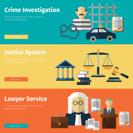derecho penal: banderas justicia y el servicio abogado conjunto de vectores. Abogado y corte, justicia ley ilustración