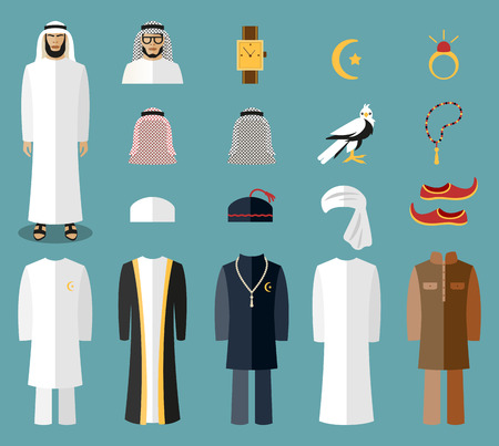 dress: Arab man clothes and accessories. Arab cloth, traditional cloth, arabic islam cloth. Vector illustration