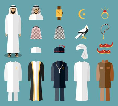 Arab man clothes and accessories. Arab cloth, traditional cloth, arabic islam cloth. Vector illustration