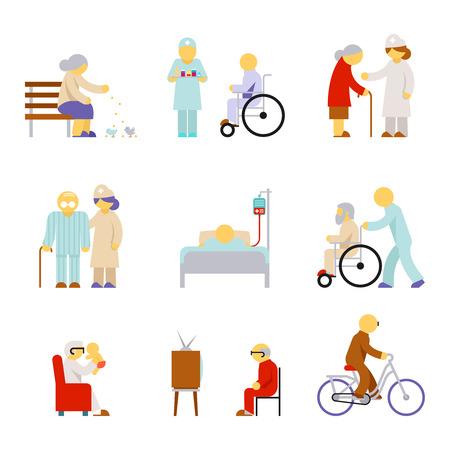 patient care: Senior health care service icons. Service for senior, care medical senior, health care senior. Vector illustration Illustration