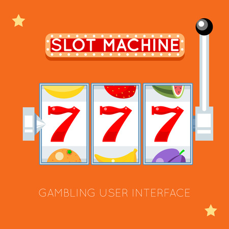 casino machine: Online slot machine. Success lucky, gambling game, slot machine jackpot, casino machine slot illustration. Vector gambling user interface