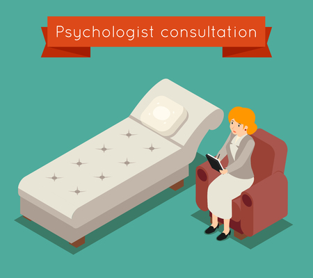 clinical psychology: Psychologist in office. Vector medical concept in 3D isometric style. Doctor psychologist, woman psychologist, medicine psychotherapy illustration Illustration