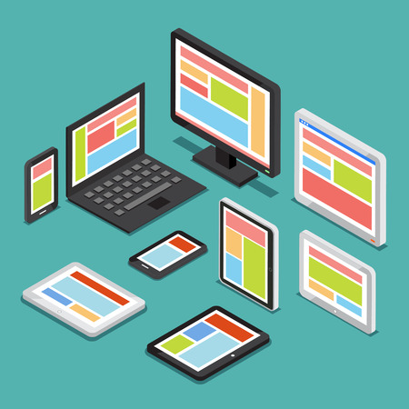 electronic device: Isometric 3D responsive web design concept with different screens and electronic devices. Technology device tablet, responsive screen, computer device, smartphone illustration Illustration