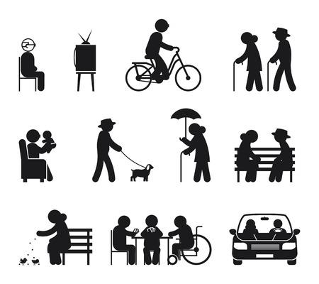 actividades de ocio de edad avanzada. Ocio personas mayores, pareja de ancianos de ocio, al aire libre, junto ilustración vectorial
