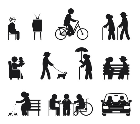 Ouderen vrijetijdsbesteding. Leisure ouderen, paar oud vrije tijd, buiten samen illustratie vector Stock Illustratie