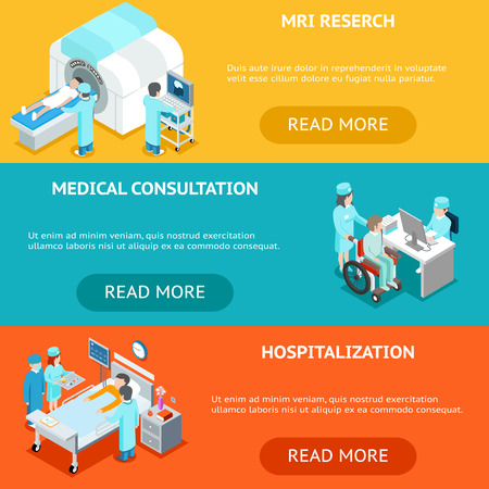 hospitalization: Healthcare flat 3d isometric banners. MRI and medical research, medical consultation and hospitalization. Health care, hospital medicine, treatment in clinic. Vector illustration