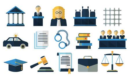 Droit et justice plat icônes vectorielles. le droit de la justice, la cour de justice juridique, tribunal justice illustration