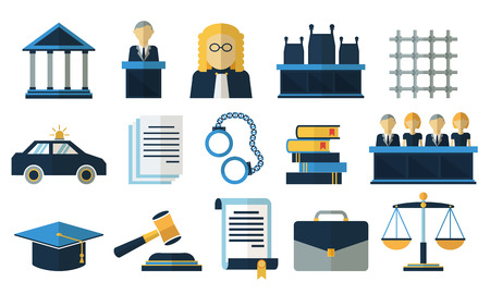 justice legal: Law and justice flat vector icons. Justice law, court legal justice, tribunal justice illustration