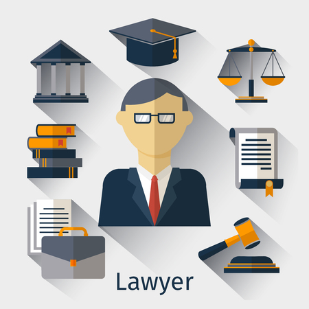 solicitor: Vector lawyer, attorney or jurist concept background. Lawyer and attorney, law jurist, advocate man illustration Illustration