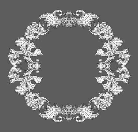 Weinlese barocken Rahmen Grenze mit Blattrolle Blumenverzierung in Linienstil. Rahmen Blumen, dekorativen Vintage-Rahmen, Barockrahmen. Vektor-Illustration