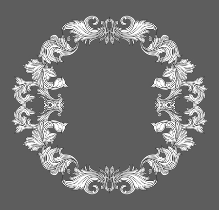 scroll border: Vintage baroque frame border with leaf scroll floral ornament in line style. Frame floral, decorative vintage frame,  baroque frame. vector illustration