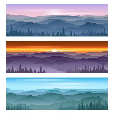 Sunset landscape vector: Mặt trời mọc ở những ngọn núi và ngọn núi hoàng hôn. Vector cảnh cảnh quan, hoàng hôn thiên nhiên, ngoài trời mặt trời mọc hình núi