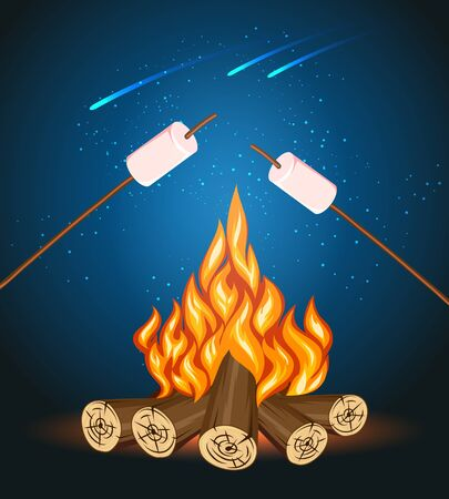 nightime: Bonfire with marshmallow, camping grill marshmallow vector illustration. Marshmallow outdoor, campfire night, food marshmallow stick