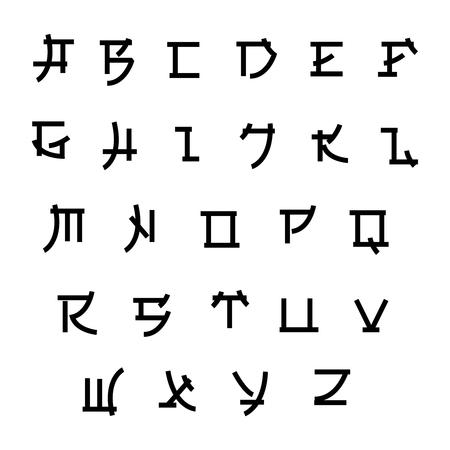 Font in japan style, vector asian type. Japanese style abc, alphabet letter illustration 일러스트