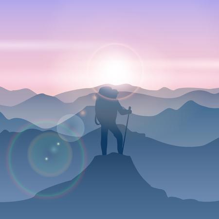 El hombre se coloca en la cima de la montaña. montaña ilustración vectorial hombre de viaje. Pico de la montaña senderismo, montaña arriba, hombre de pie ilustración