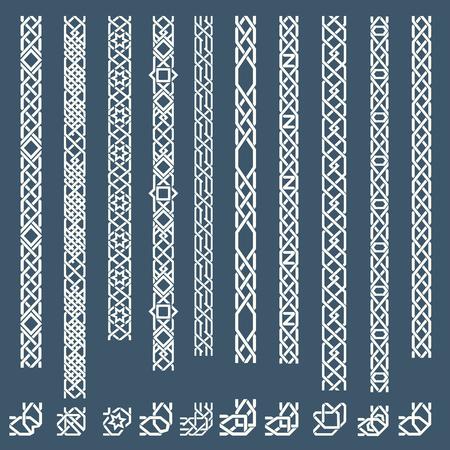 원활한 이슬람 장식 테두리. 원활한 패턴 테두리, 아랍어 테두리 장식, 프레임 테두리. 벡터 일러스트 레이 션 일러스트