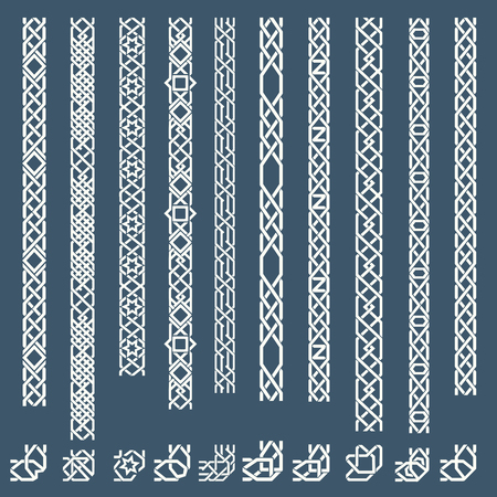 arabic: Seamless islamic ornamental borders. Seamless pattern border, arabic border ornament, frame border. Vector illustration
