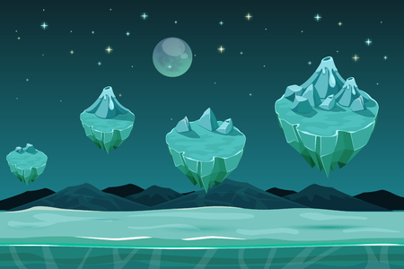 Frozen game planet horizontal seamless background, game pattern with ice islands. Nature landscape game, winter design game with snow. UI game background  イラスト・ベクター素材