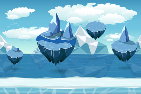 iceberg: Arctic seamless cartoon landscape, endless pattern with icebergs and snow islands. Flying island landscape, nature game winter, cool interface game, panorama seamless game. Vector illustration