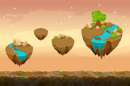 star cartoon: Night prairie game landscape, unending game background with rivers on the islands. Gui nature, interface landscape, travel game ui. Vector illustration Illustration