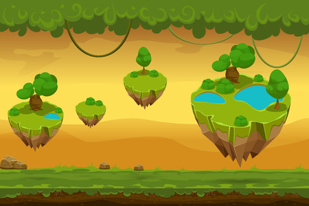 islands: Horizontal seamless cartoon fantastic forest landscape. Nature panorama for game, liana and covering grass, landscape game. Vector illustration Illustration