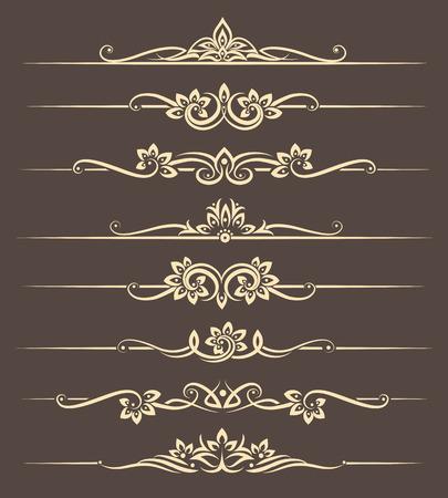 カリグラフィのデザイン要素、タイの飾りと区切りページです。仕切り飾りページ、華やかなベクトル図  イラスト・ベクター素材