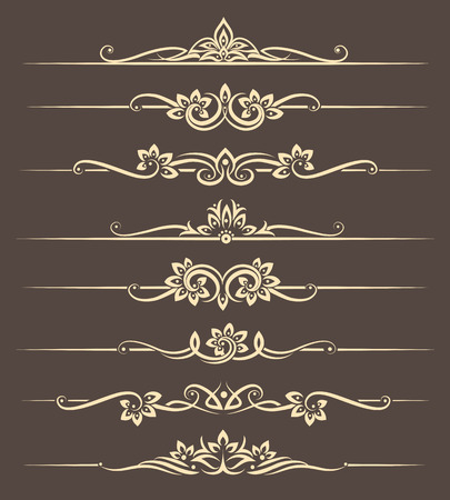 ornaments floral: Calligraphic design elements, page dividers with thai ornament. Divider ornament page, ornate vector illustration