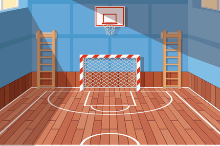 School or university gym hall. Gym court for football and basketball, school hall, floor game. Vector illustration