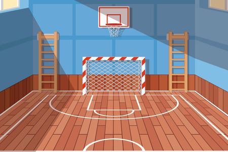 Szkole lub na uczelni sala gimnastyczna. Sąd Siłownia do piłki nożnej i koszykówki, sali szkolnej, gry podłogi. ilustracji wektorowych