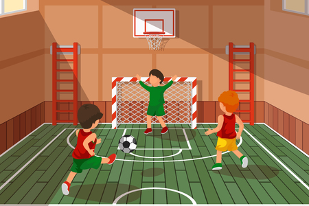 School soccer game. Kids playing soccer. Athletic stairs, school hall game, basketball and soccer area vector illustration Illustration