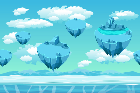 games: Ice and snow with the ice islands. Seamless game landscape. Cartoon background for games. Snow panorama, game user interface, cold arctic, environment game, flying island, vector illustration Illustration