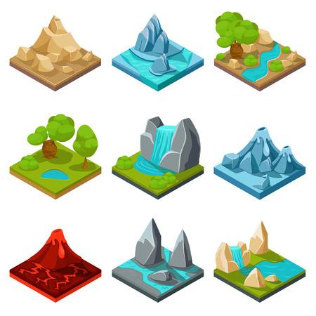 montagna: elementi vettoriali terreno di gioco. Natura gioco pietra, gioco interfaccia cartone animato paesaggio, roccia e acqua strato gioco illustrazione