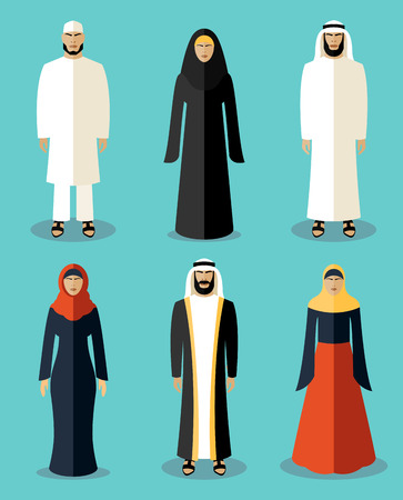 traditional culture: Muslim people flat icons. Traditional culture arabic, people arabian, vector illustration Illustration