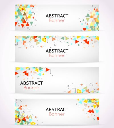 Vector triangle polygonal banners or abstract headers. Template triangle banner set, geometry element card illustration Stock Vector - 54058717