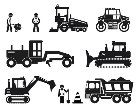 tractor warning sign: Road construction worker black vector icons set. Road worker, repair equipment, vehicle industry road illustration